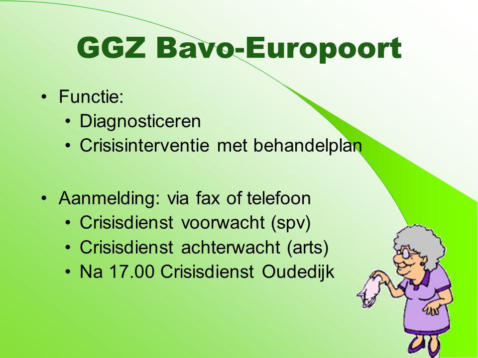 GGZ Bavo-Europoort Functie: Diagnosticeren Crisisinterventie met behandelplan Aanmelding: via fax of telefoon Crisisdienst voorwacht (spv) Crisisdienst achterwacht (arts) Na 17.00 Crisisdienst Oudedijk