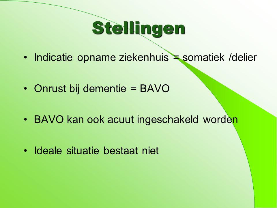 Stellingen Indicatie opname ziekenhuis = somatiek /delier Onrust bij dementie = BAVO BAVO kan ook acuut ingeschakeld worden Ideale situatie bestaat niet