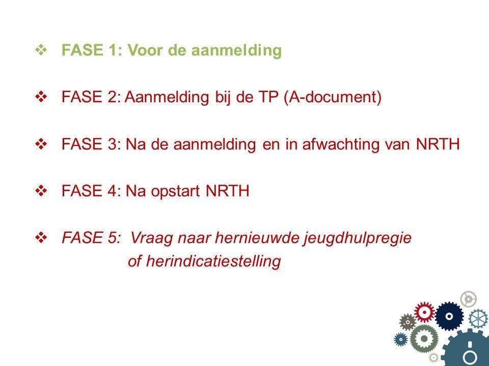  FASE 1: Voor de aanmelding  FASE 2: Aanmelding bij de TP (A-document)  FASE 3: Na de aanmelding en in afwachting van NRTH  FASE 4: Na opstart NRTH  FASE 5: Vraag naar hernieuwde jeugdhulpregie of herindicatiestelling