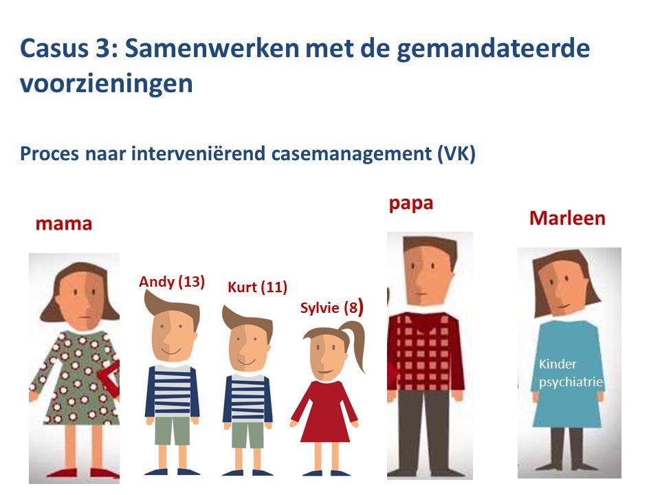 Casus 3: Samenwerken met de gemandateerde voorzieningen Proces naar interveniërend casemanagement (VK) BJB mama Andy (13) Kurt (11) Sylvie (8 ) papa Marleen Kinder psychiatrie