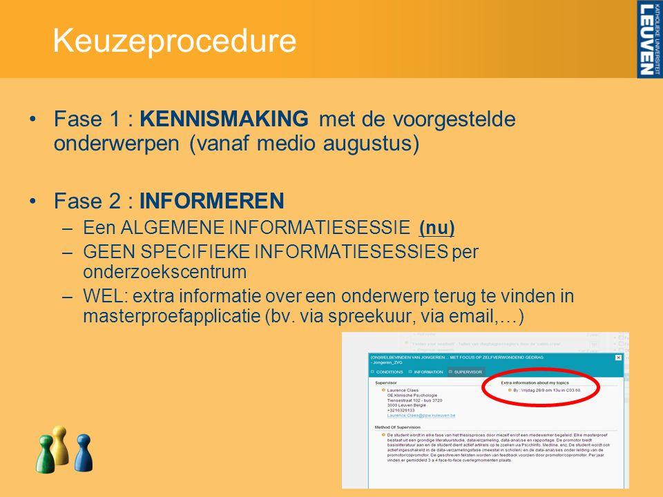 Keuzeprocedure Fase 1 : KENNISMAKING met de voorgestelde onderwerpen (vanaf medio augustus) Fase 2 : INFORMEREN –Een ALGEMENE INFORMATIESESSIE (nu) –G