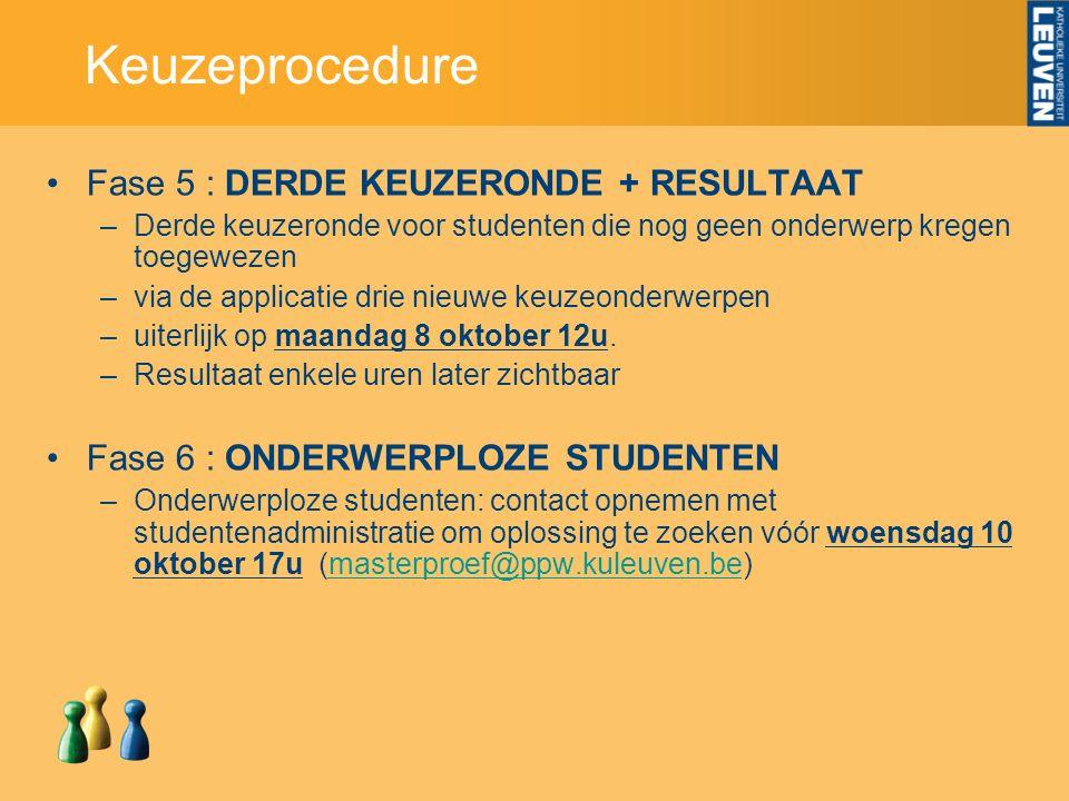 Keuzeprocedure Fase 5 : DERDE KEUZERONDE + RESULTAAT –Derde keuzeronde voor studenten die nog geen onderwerp kregen toegewezen –via de applicatie drie nieuwe keuzeonderwerpen –uiterlijk op maandag 8 oktober 12u.