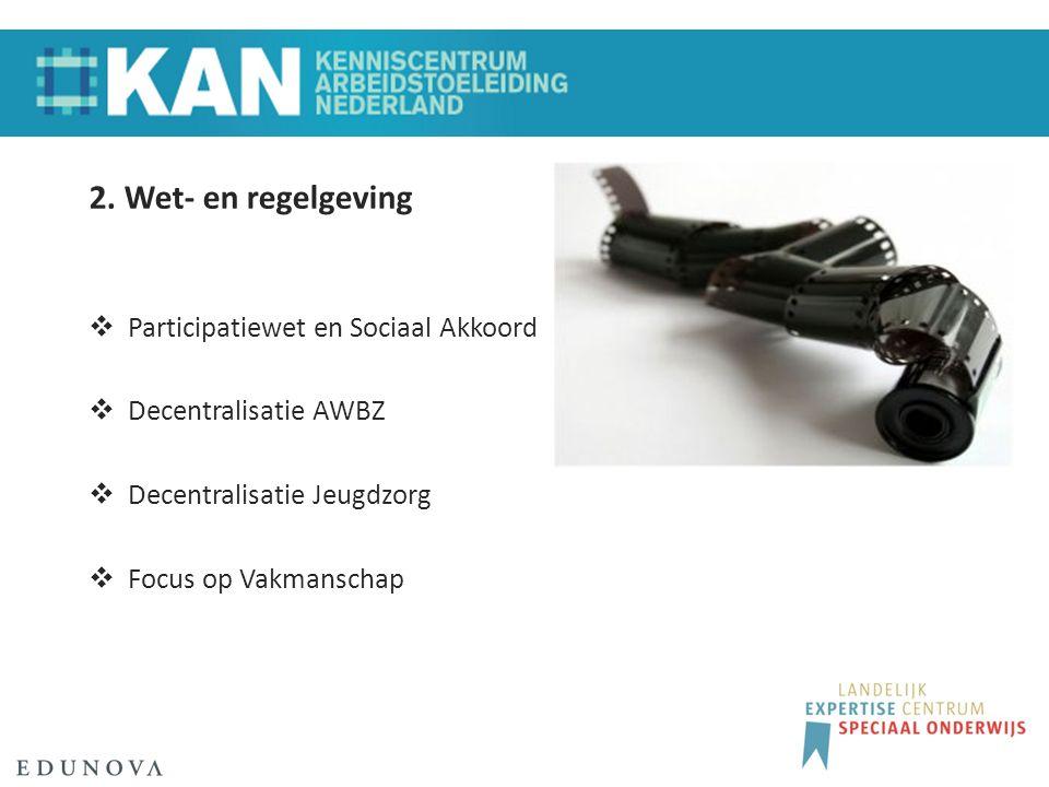2. Wet- en regelgeving  Participatiewet en Sociaal Akkoord  Decentralisatie AWBZ  Decentralisatie Jeugdzorg  Focus op Vakmanschap