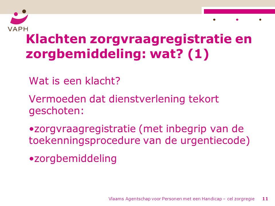 Vlaams Agentschap voor Personen met een Handicap – cel zorgregie11 Klachten zorgvraagregistratie en zorgbemiddeling: wat.