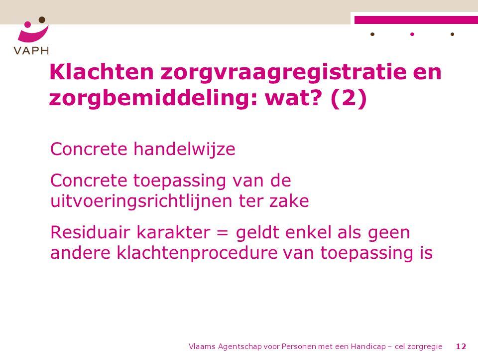 Vlaams Agentschap voor Personen met een Handicap – cel zorgregie12 Klachten zorgvraagregistratie en zorgbemiddeling: wat.