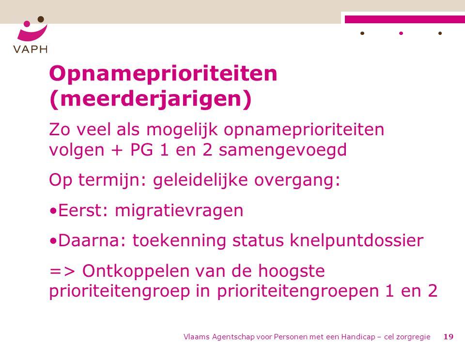 Vlaams Agentschap voor Personen met een Handicap – cel zorgregie19 Opnameprioriteiten (meerderjarigen) Zo veel als mogelijk opnameprioriteiten volgen + PG 1 en 2 samengevoegd Op termijn: geleidelijke overgang: Eerst: migratievragen Daarna: toekenning status knelpuntdossier => Ontkoppelen van de hoogste prioriteitengroep in prioriteitengroepen 1 en 2