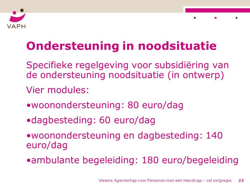 Vlaams Agentschap voor Personen met een Handicap – cel zorgregie22 Ondersteuning in noodsituatie Specifieke regelgeving voor subsidiëring van de ondersteuning noodsituatie (in ontwerp) Vier modules: woonondersteuning: 80 euro/dag dagbesteding: 60 euro/dag woonondersteuning en dagbesteding: 140 euro/dag ambulante begeleiding: 180 euro/begeleiding