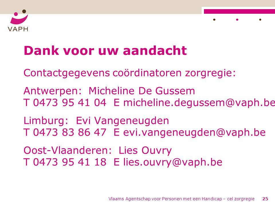 Vlaams Agentschap voor Personen met een Handicap – cel zorgregie25 Dank voor uw aandacht Contactgegevens coördinatoren zorgregie: Antwerpen: Micheline De Gussem T 0473 95 41 04 E micheline.degussem@vaph.be Limburg: Evi Vangeneugden T 0473 83 86 47 E evi.vangeneugden@vaph.be Oost-Vlaanderen: Lies Ouvry T 0473 95 41 18 E lies.ouvry@vaph.be