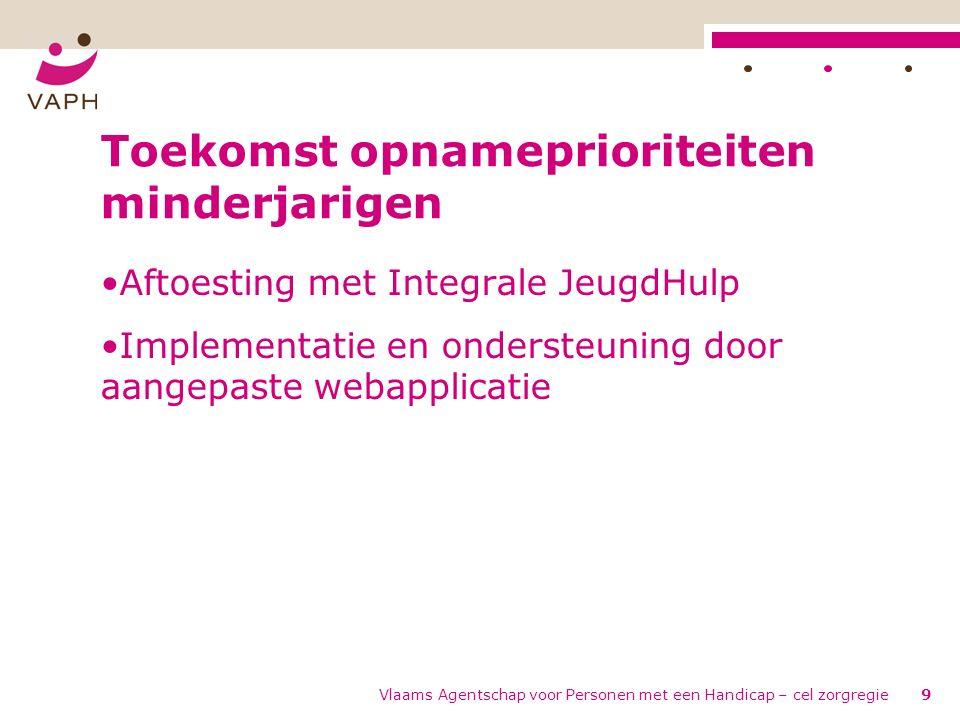 Vlaams Agentschap voor Personen met een Handicap – cel zorgregie9 Toekomst opnameprioriteiten minderjarigen Aftoesting met Integrale JeugdHulp Implementatie en ondersteuning door aangepaste webapplicatie