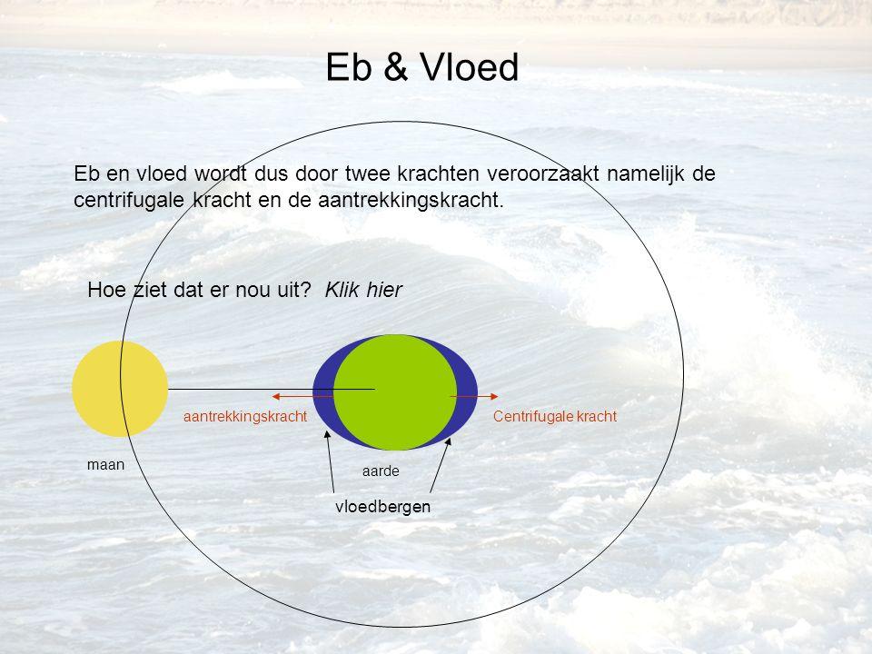 Eb & Vloed Eb en vloed wordt dus door twee krachten veroorzaakt namelijk de centrifugale kracht en de aantrekkingskracht. Hoe ziet dat er nou uit? Kli