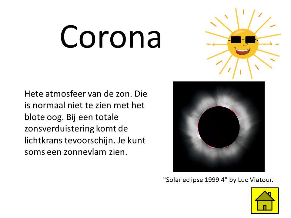 Corona Hete atmosfeer van de zon. Die is normaal niet te zien met het blote oog. Bij een totale zonsverduistering komt de lichtkrans tevoorschijn. Je
