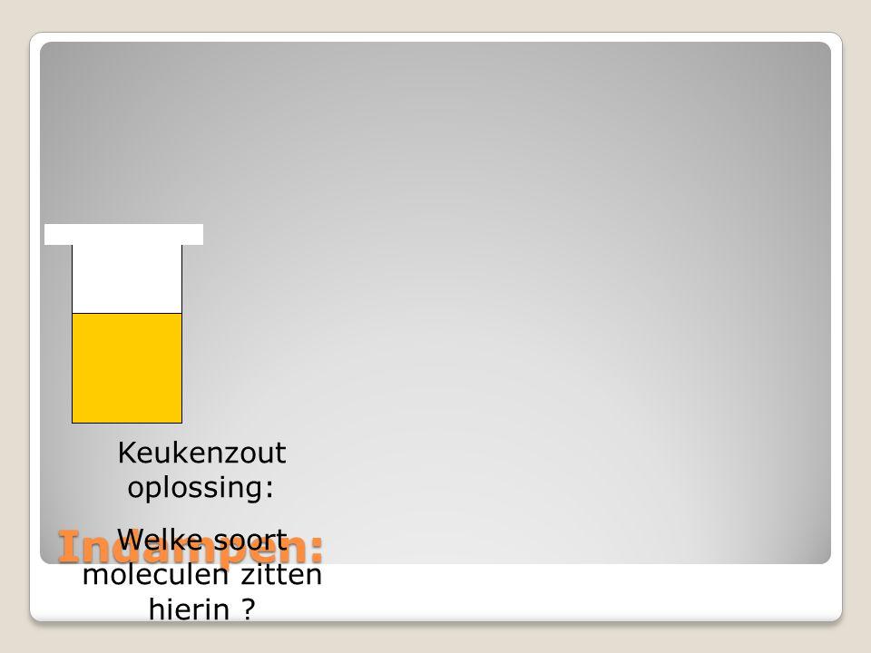 Indampen: Keukenzout oplossing: Welke soort moleculen zitten hierin ?