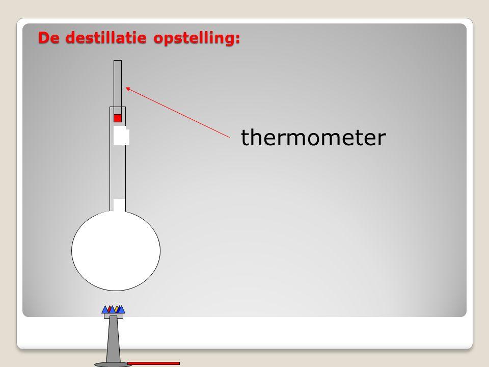De destillatie opstelling: thermometer