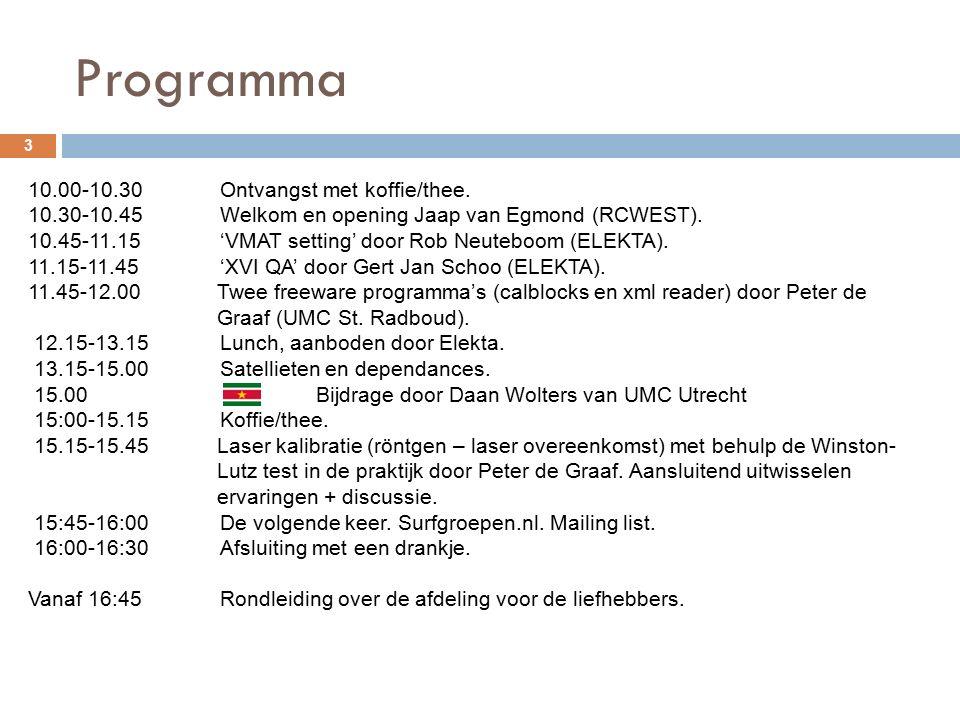 Programma 3 10.00-10.30Ontvangst met koffie/thee. 10.30-10.45Welkom en opening Jaap van Egmond (RCWEST). 10.45-11.15'VMAT setting' door Rob Neuteboom