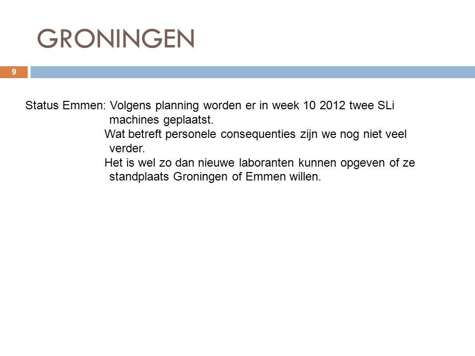GRONINGEN 9 Status Emmen: Volgens planning worden er in week 10 2012 twee SLi machines geplaatst.