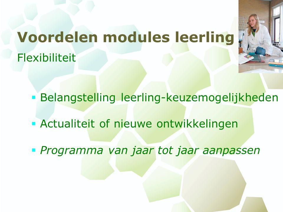 Voordelen modules leerling Flexibiliteit  Belangstelling leerling-keuzemogelijkheden  Actualiteit of nieuwe ontwikkelingen  Programma van jaar tot jaar aanpassen