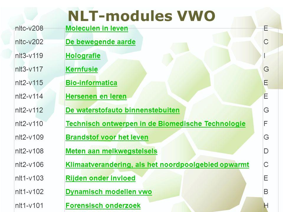 NLT-modules VWO nltc-v208Moleculen in levenE nltc-v202De bewegende aardeC nlt3-v119HolografieI nlt3-v117KernfusieG nlt2-v115Bio-informaticaE nlt2-v114Hersenen en lerenE nlt2-v112De waterstofauto binnenstebuitenG nlt2-v110Technisch ontwerpen in de Biomedische TechnologieF nlt2-v109Brandstof voor het levenG nlt2-v108Meten aan melkwegstelselsD nlt2-v106Klimaatverandering, als het noordpoolgebied opwarmtC nlt1-v103Rijden onder invloedE nlt1-v102Dynamisch modellen vwoB nlt1-v101Forensisch onderzoekH