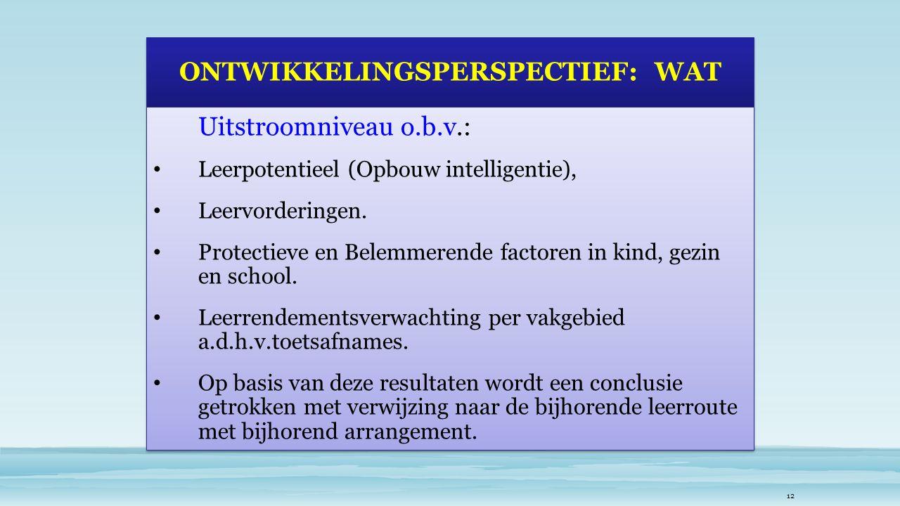 ONTWIKKELINGSPERSPECTIEF: WAT Uitstroomniveau o.b.v.: Leerpotentieel (Opbouw intelligentie), Leervorderingen.