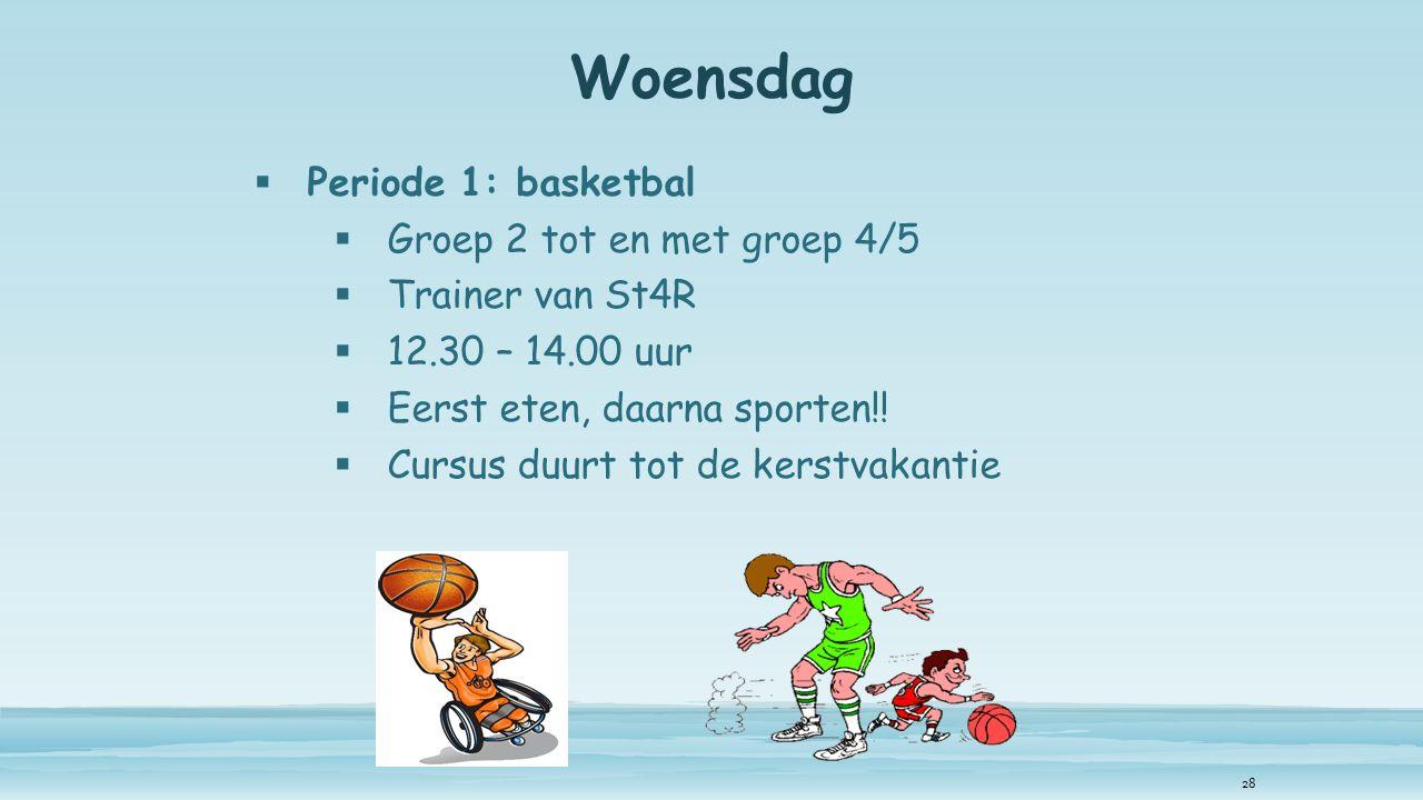 Woensdag  Periode 1: basketbal  Groep 2 tot en met groep 4/5  Trainer van St4R  12.30 – 14.00 uur  Eerst eten, daarna sporten!.