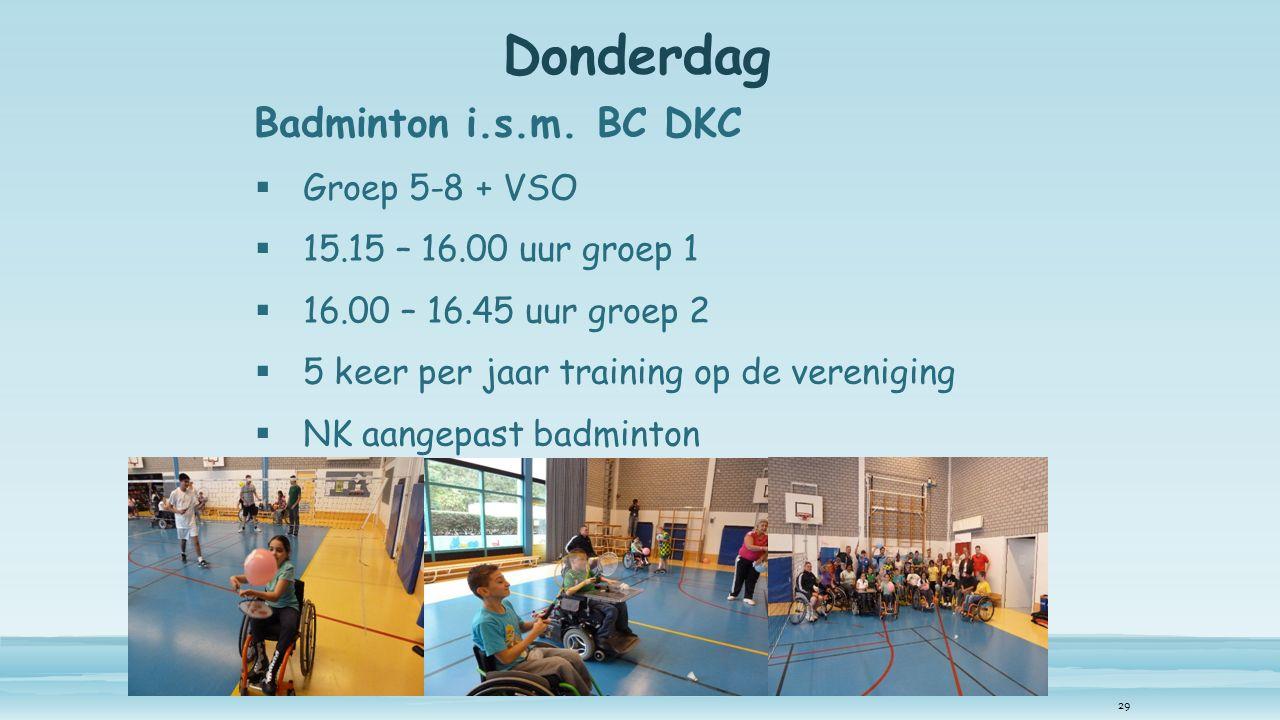 Donderdag Badminton i.s.m.