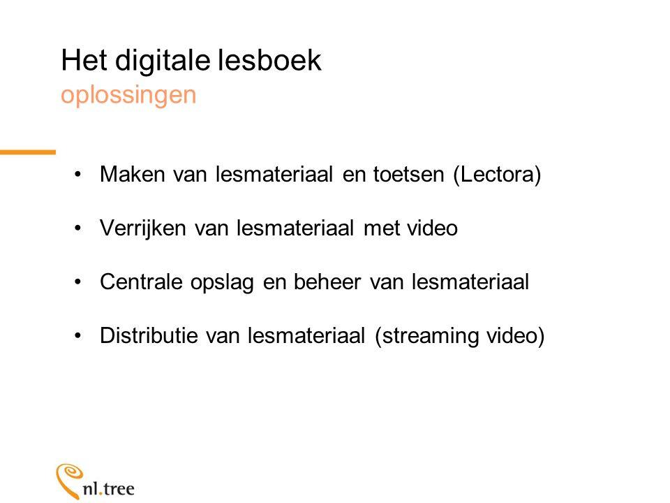 Het digitale lesboek oplossingen Maken van lesmateriaal en toetsen (Lectora) Verrijken van lesmateriaal met video Centrale opslag en beheer van lesmateriaal Distributie van lesmateriaal (streaming video)