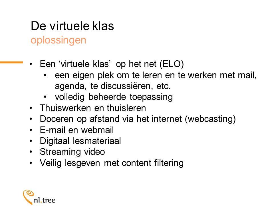 De virtuele klas oplossingen Een 'virtuele klas' op het net (ELO) een eigen plek om te leren en te werken met mail, agenda, te discussiëren, etc.