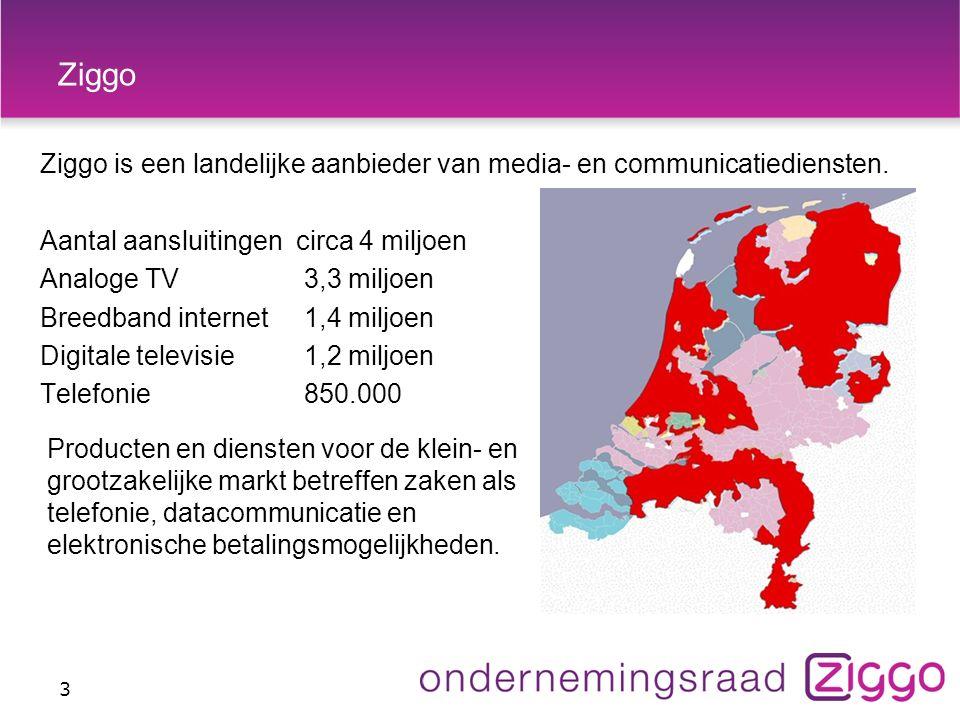 Ziggo Ziggo is een landelijke aanbieder van media- en communicatiediensten.