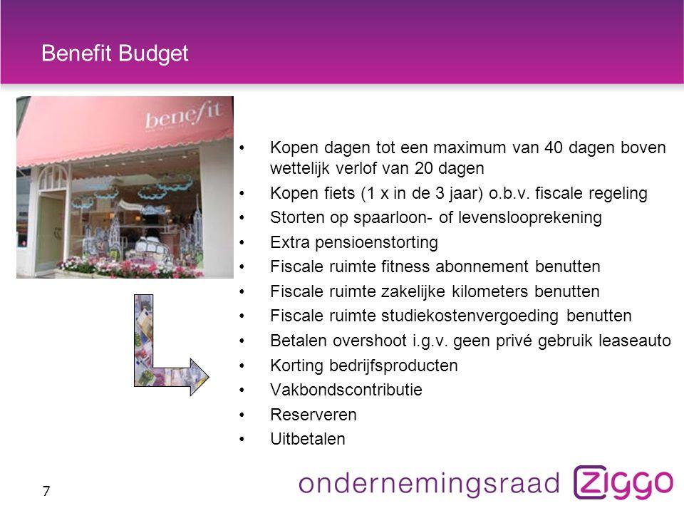 Benefit Budget 7 Kopen dagen tot een maximum van 40 dagen boven wettelijk verlof van 20 dagen Kopen fiets (1 x in de 3 jaar) o.b.v.