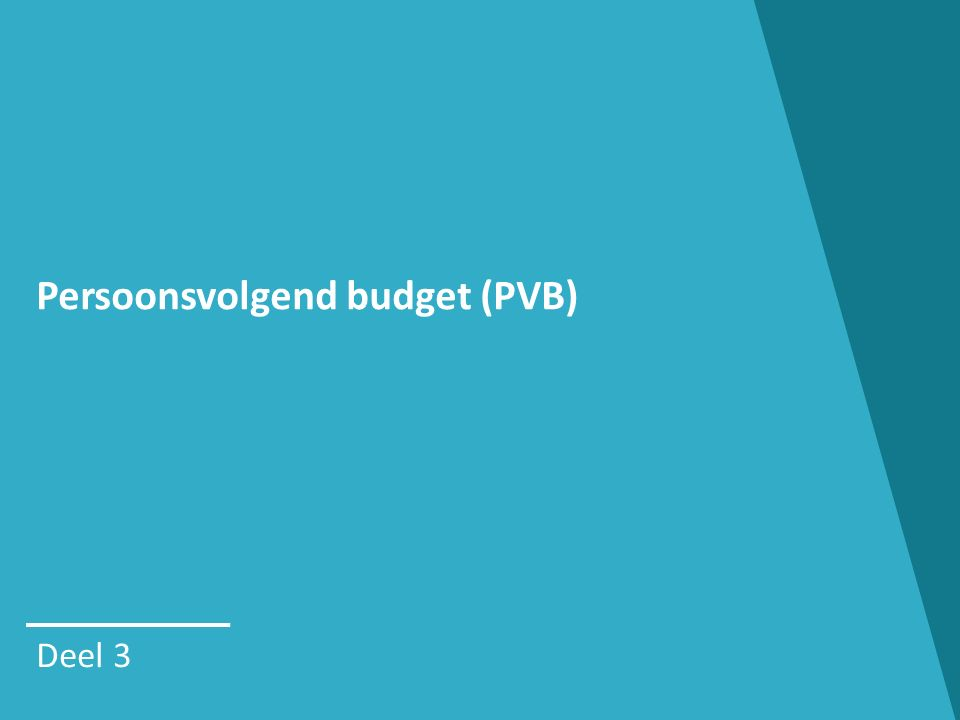 Persoonsvolgend budget (PVB) Deel 3