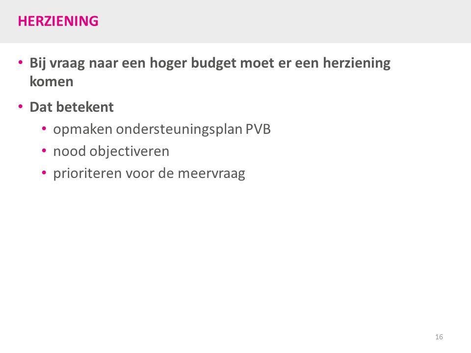 HERZIENING Bij vraag naar een hoger budget moet er een herziening komen Dat betekent opmaken ondersteuningsplan PVB nood objectiveren prioriteren voor de meervraag 16