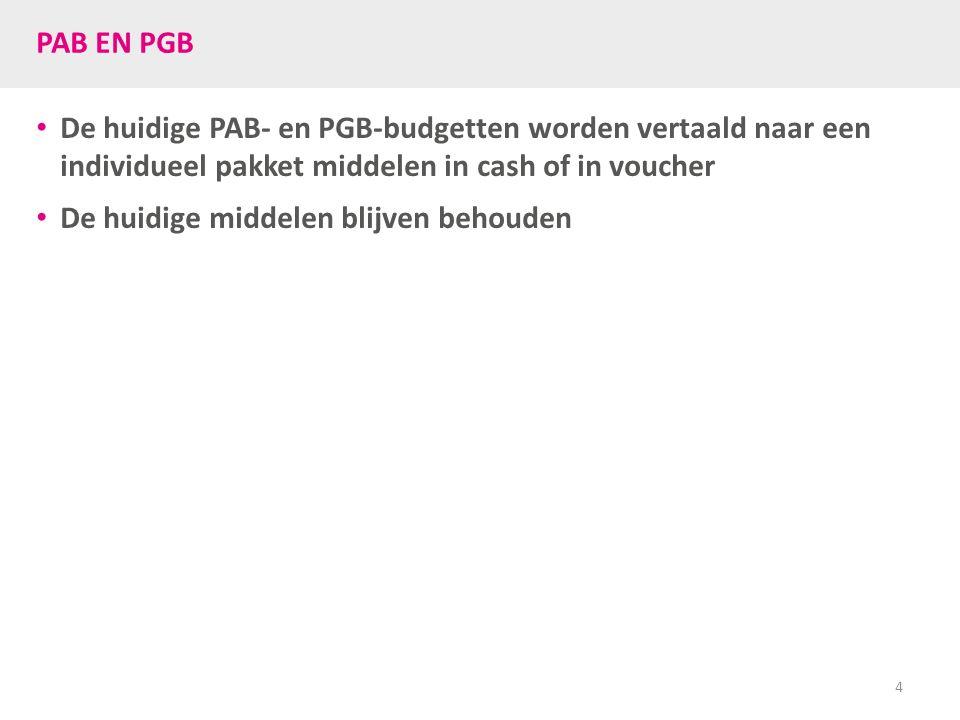 PAB EN PGB De huidige PAB- en PGB-budgetten worden vertaald naar een individueel pakket middelen in cash of in voucher De huidige middelen blijven beh