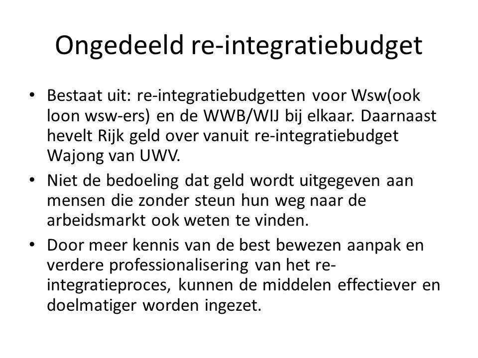 Ongedeeld re-integratiebudget Bestaat uit: re-integratiebudgetten voor Wsw(ook loon wsw-ers) en de WWB/WIJ bij elkaar.