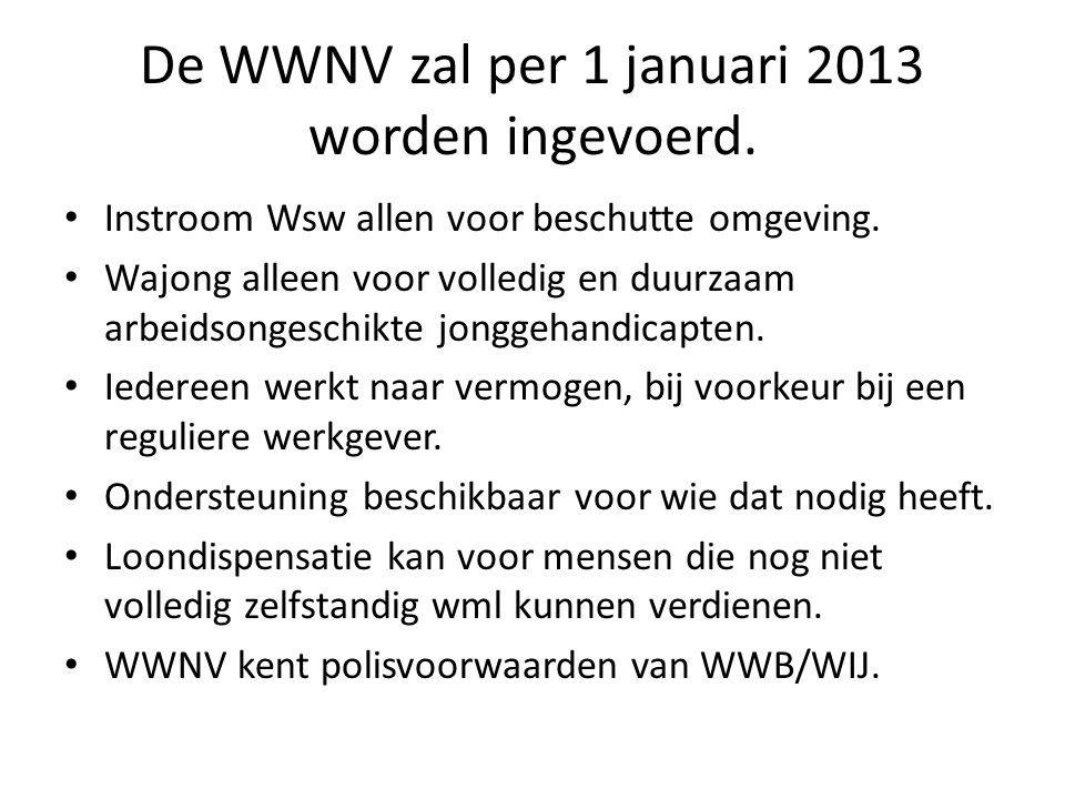 De WWNV zal per 1 januari 2013 worden ingevoerd. Instroom Wsw allen voor beschutte omgeving.