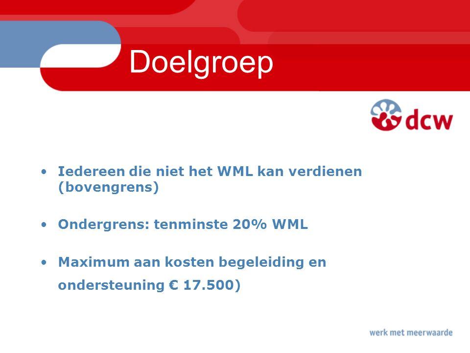 Doelgroep Iedereen die niet het WML kan verdienen (bovengrens) Ondergrens: tenminste 20% WML Maximum aan kosten begeleiding en ondersteuning € 17.500)