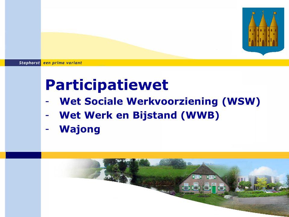 Participatiewet -Wet Sociale Werkvoorziening (WSW) - Wet Werk en Bijstand (WWB) - Wajong