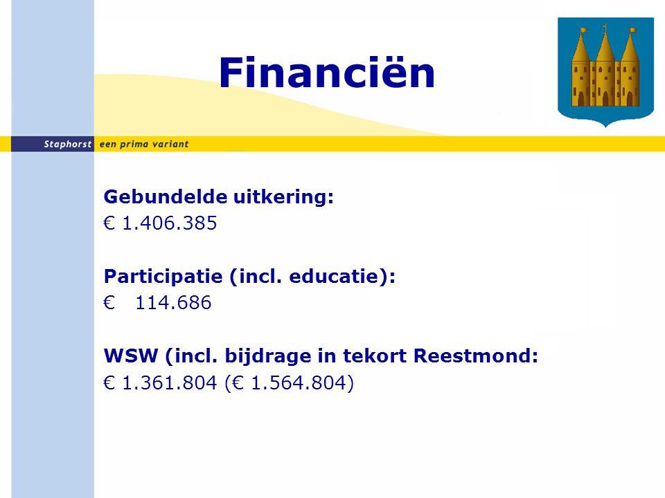 Financiën (2) Regionale vergelijking (cijfers 2014) Staphorst: € 3.085.875 Zwartewaterland: € 4.549.773 Westerveld: € 8.072.188 Meppel: € 20.237.270 Steenwijkerland: € 23.205.101 Mei-circulaire