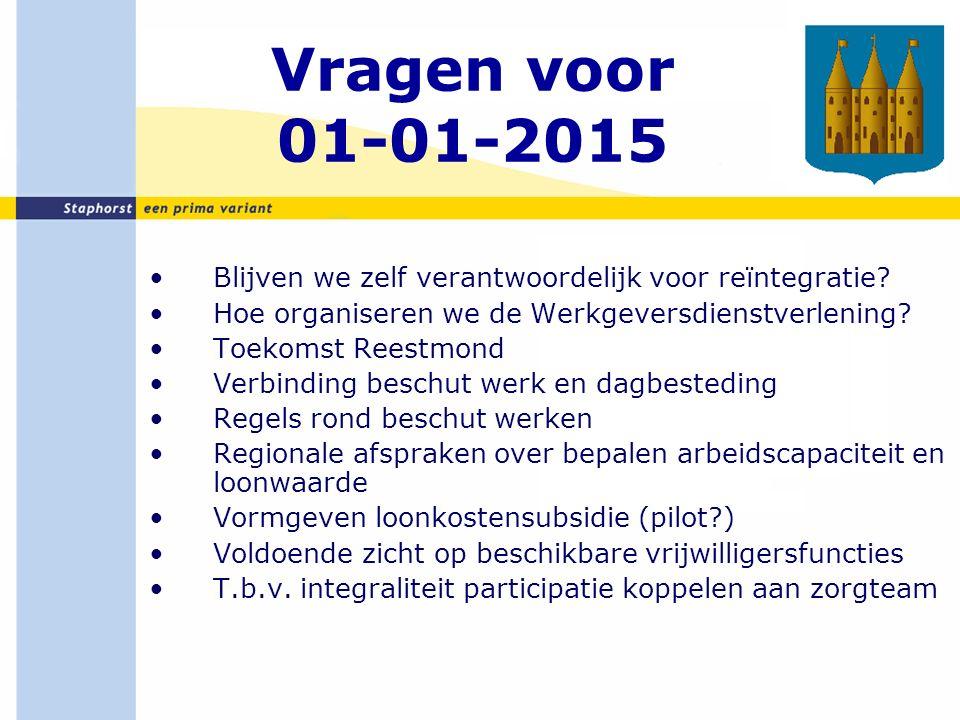 Vragen voor 01-01-2015 Blijven we zelf verantwoordelijk voor reïntegratie.