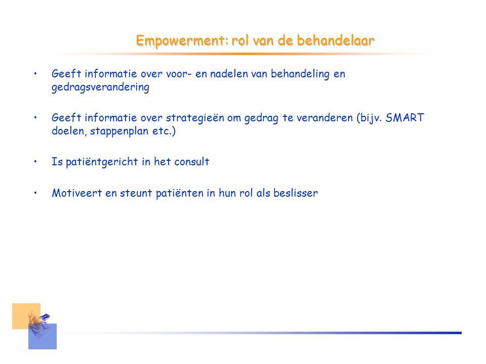 Empowerment: rol van de behandelaar Geeft informatie over voor- en nadelen van behandeling en gedragsverandering Geeft informatie over strategieën om gedrag te veranderen (bijv.