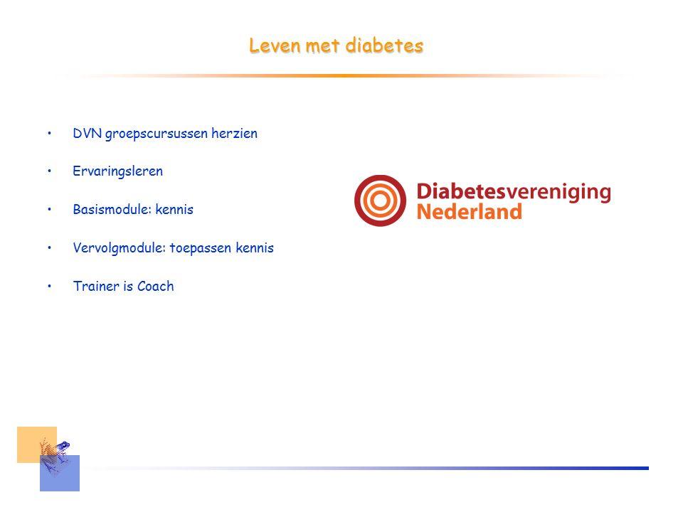Leven met diabetes DVN groepscursussen herzien Ervaringsleren Basismodule: kennis Vervolgmodule: toepassen kennis Trainer is Coach