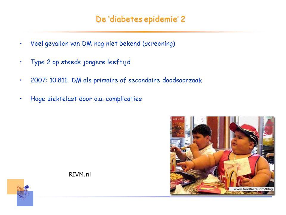 De 'diabetes epidemie' 2 Veel gevallen van DM nog niet bekend (screening) Type 2 op steeds jongere leeftijd 2007: 10.811: DM als primaire of secondaire doodsoorzaak Hoge ziektelast door o.a.