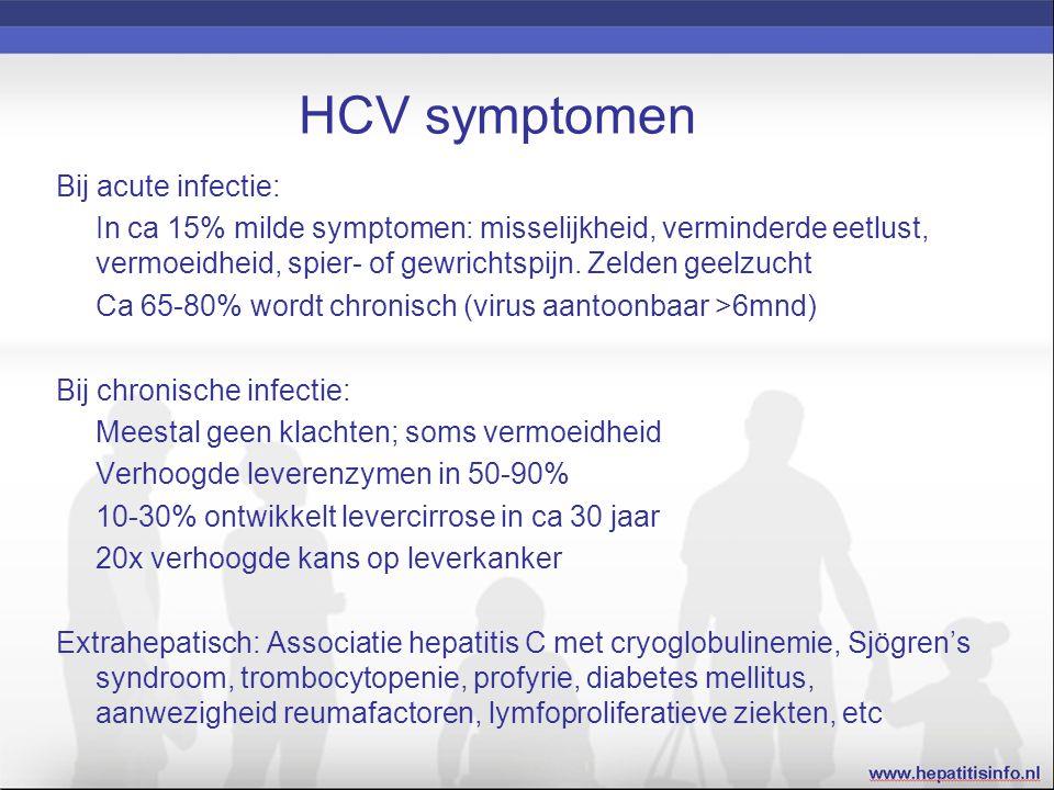 HCV symptomen Bij acute infectie: In ca 15% milde symptomen: misselijkheid, verminderde eetlust, vermoeidheid, spier- of gewrichtspijn.