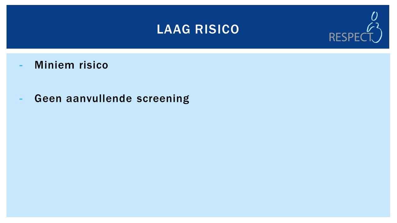 -Miniem risico -Geen aanvullende screening LAAG RISICO