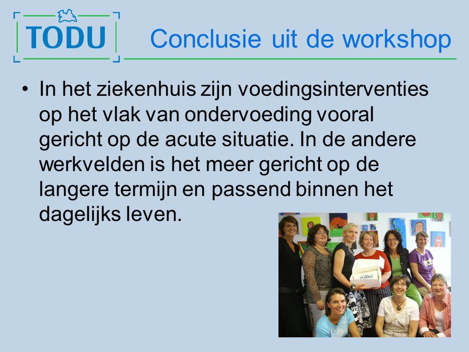 Conclusie uit de workshop In het ziekenhuis zijn voedingsinterventies op het vlak van ondervoeding vooral gericht op de acute situatie.