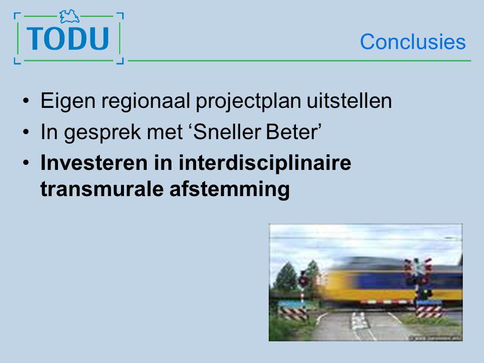 Conclusies Eigen regionaal projectplan uitstellen In gesprek met 'Sneller Beter' Investeren in interdisciplinaire transmurale afstemming