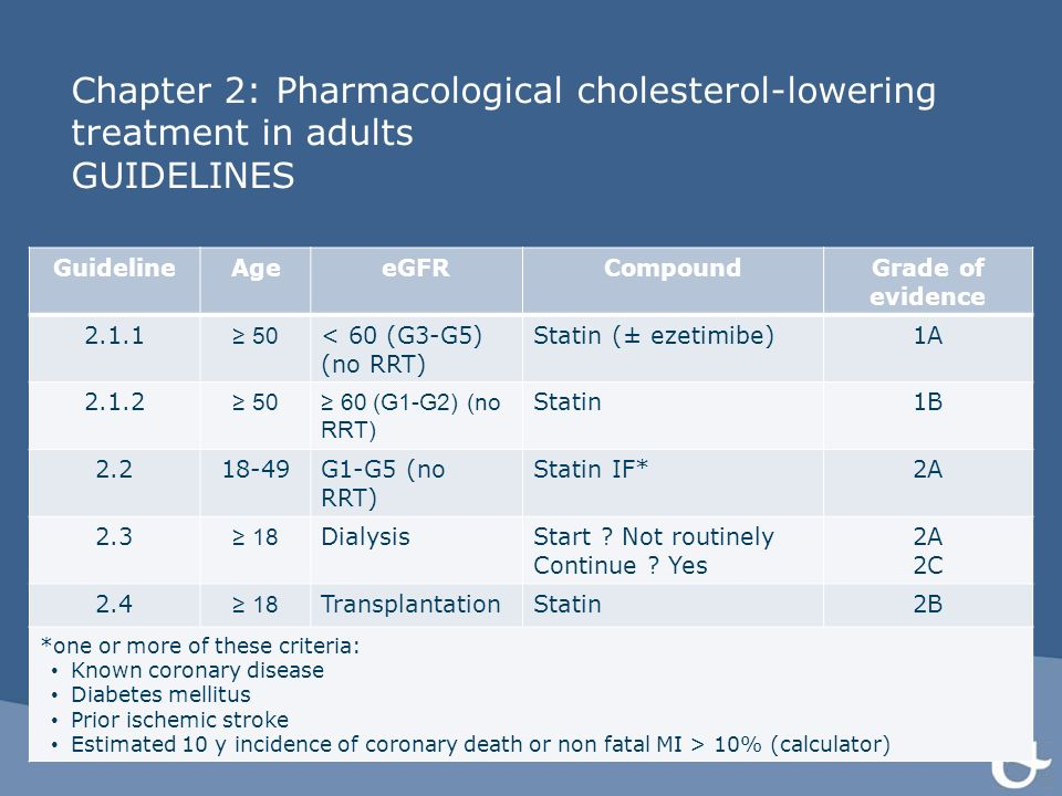 Chapter 2: Pharmacological cholesterol-lowering treatment in adults GUIDELINES GuidelineAgeeGFRCompoundGrade of evidence 2.1.1 ≥ 50 < 60 (G3-G5) (no R