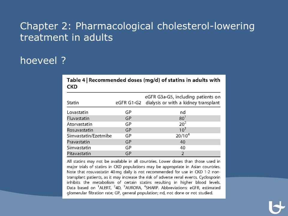 Chapter 2: Pharmacological cholesterol-lowering treatment in adults hoeveel ?