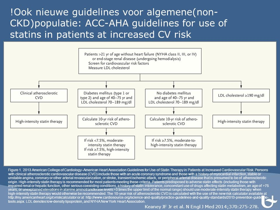 !Ook nieuwe guidelines voor algemene(non- CKD)populatie: ACC-AHA guidelines for use of statins in patients at increased CV risk Keaney JF Jr et al.