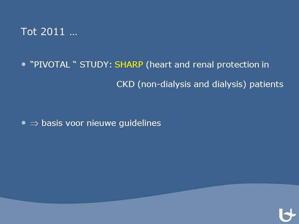 Chapter 1 : Assessment of lipidstatus in adults with CKD KDIGO 1.1: In adults with newly identified CKD (including those treated with chronic dialysis or kidney transplantation), we recommend evaluation with a lipid profile (total cholesterol, LDL cholesterol, HDL cholesterol, triglycerides).(1C) Rationale .