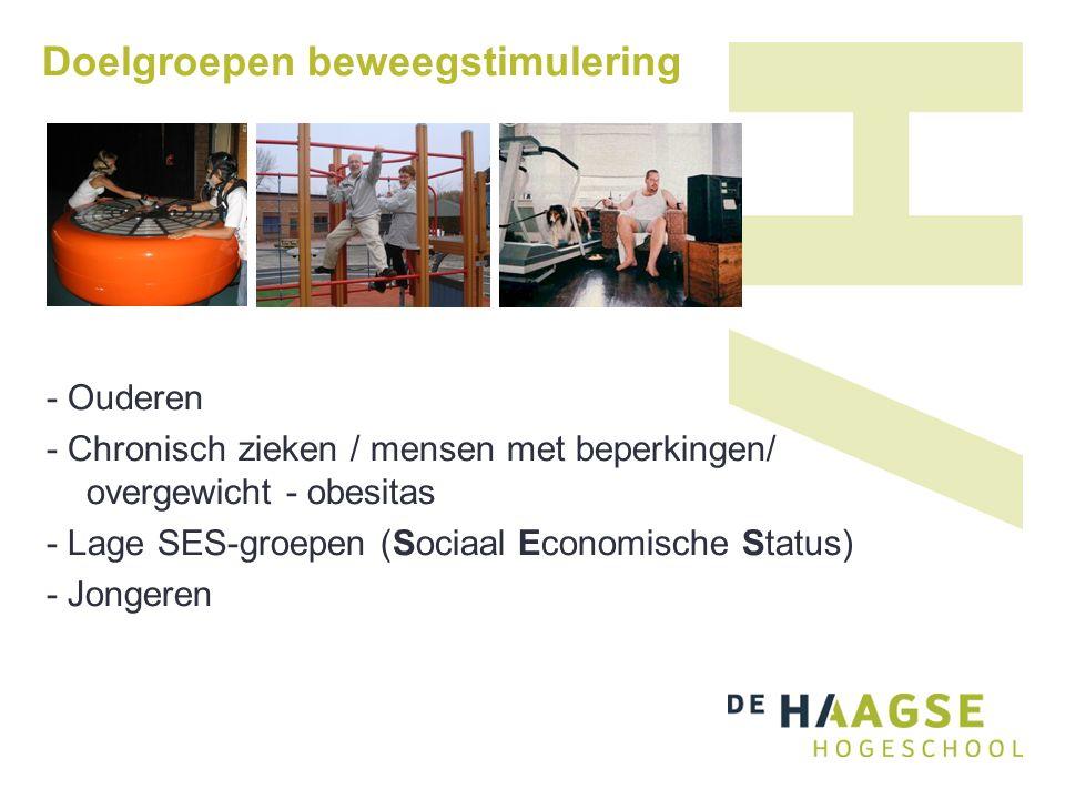 Doelgroepen beweegstimulering - Ouderen - Chronisch zieken / mensen met beperkingen/ overgewicht - obesitas - Lage SES-groepen (Sociaal Economische Status) - Jongeren