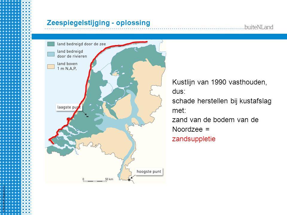 Zeespiegelstijging - oplossing Kustlijn van 1990 vasthouden, dus: schade herstellen bij kustafslag met: zand van de bodem van de Noordzee = zandsupple